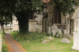 The Edmund Earley headstone resumes its original prominence in St Mary's Churchyard