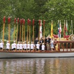 Villagers gathered at the riverside to view the Magna Carta boat relay