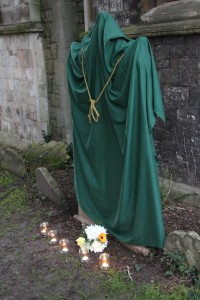 The recently renovated headstone of Edmund Earley before the official unveiling