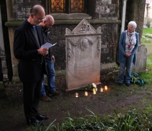 The re-dedication. From left, the vicar Peter Wyard, restorer Andy Chalk, and Janet Kennish