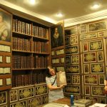 The library contains more than 300 large leather-bound books, works of theology and church history