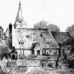 Drawing of the old church before rebuilding in 1857