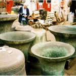 Original five bells in the foundry at Loughborough being cleaned and retuned in 1999