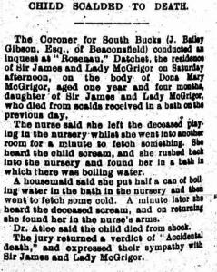 Child scalded 1909