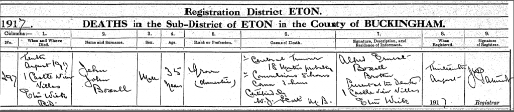 JJ Boxall death certificate