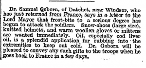 Times 25 Nov 1914 frost bite