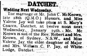Marriage Datchet January 1921