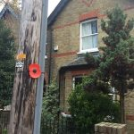 On Thursday 8th November, we mounted poppies on lamp posts, telegraph and sign posts, near the houses of the soldiers remembered on the WWI memorial so residents could discover if they lived in the same road, or house, as a WWI soldier