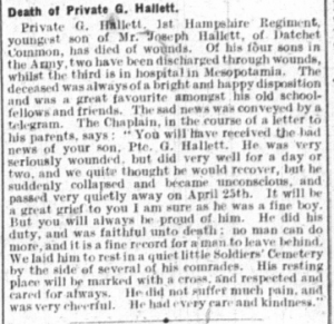 Hallett press cutting