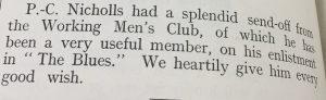 PC Nicholls send off DMP Dec 1915